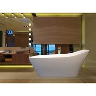Aquatica Emmanuelle-Wht Freestanding Solid Surface Bathtub - Matte White Aquatica Emma-Wht