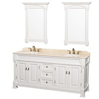 "Andover 72"" Traditional Bathroom Double Vanity Set by Wyndham Collection - White WC-TD72-WHT"