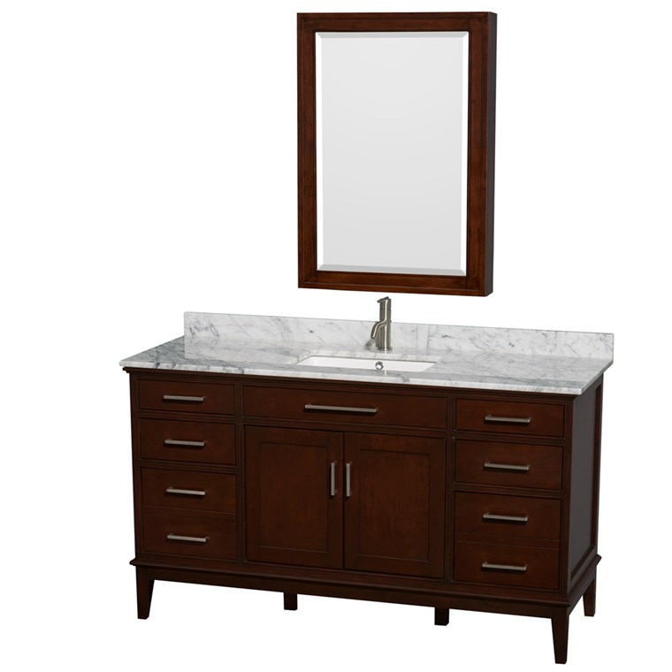 "Hatton 60"" Single Bathroom Vanity by Wyndham Collection - Dark Chestnut WC-1616-60-SGL-VAN-CDK"