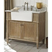 "Fairmont Designs Rustic Chic 36"" Farmhouse Vanity - Weathered Oak 142-FV36"