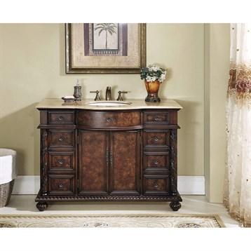 "Stufurhome 48"" Amelia Single Sink Vanity with Travertine Marble Top - Dark Brown"