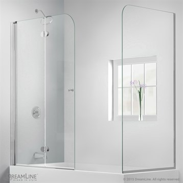 "Bath Authority DreamLine AquaFold Hinged Tub Door, 56""-60"" with Return Panel, Chrome Finish Hardware... by Bath Authority DreamLine"