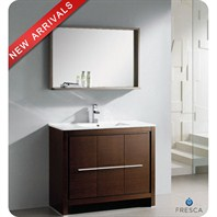 "Fresca Allier 40"" Wenge Brown Modern Bathroom Vanity with Mirror FVN8140WG"