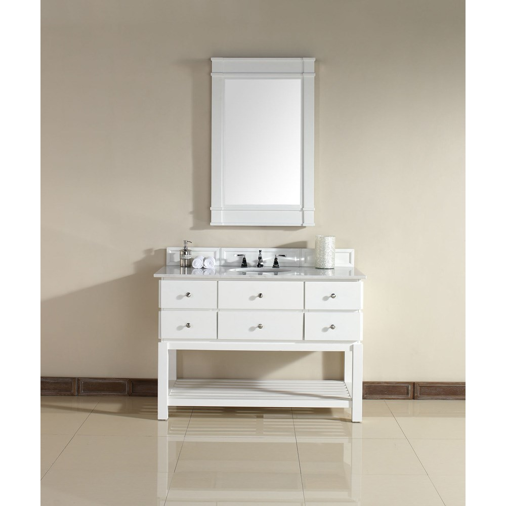 "James Martin 48"" Andover Single Vanity with Guangxi Marble Top - Whitenohtin Sale $1440.00 SKU: 950-V48-PWH-GWH :"