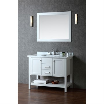 Seacliff By Ariel Bayhill 42 Single Sink Vanity Set With Carrera White Marble Countertop