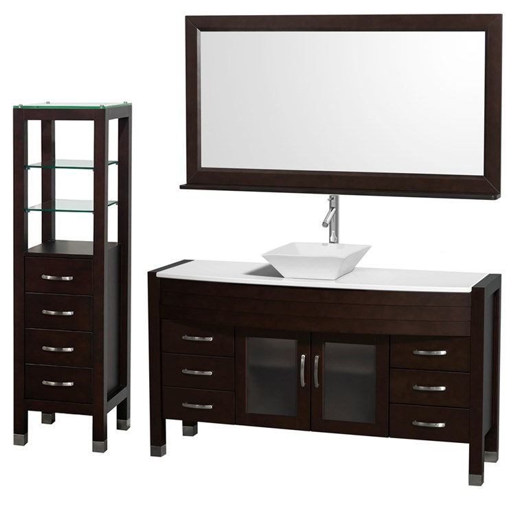 "Daytona 60"" Bathroom Vanity with Vessel Sink, Mirror and Cabinet by Wyndham Collection - Espresso WC-A-W2109-60-T-ESP-SET-"