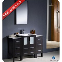 "Fresca Torino 48"" Espresso Modern Bathroom Vanity with 2 Side Cabinets & Integrated Sink FVN62-122412ES-UNS"