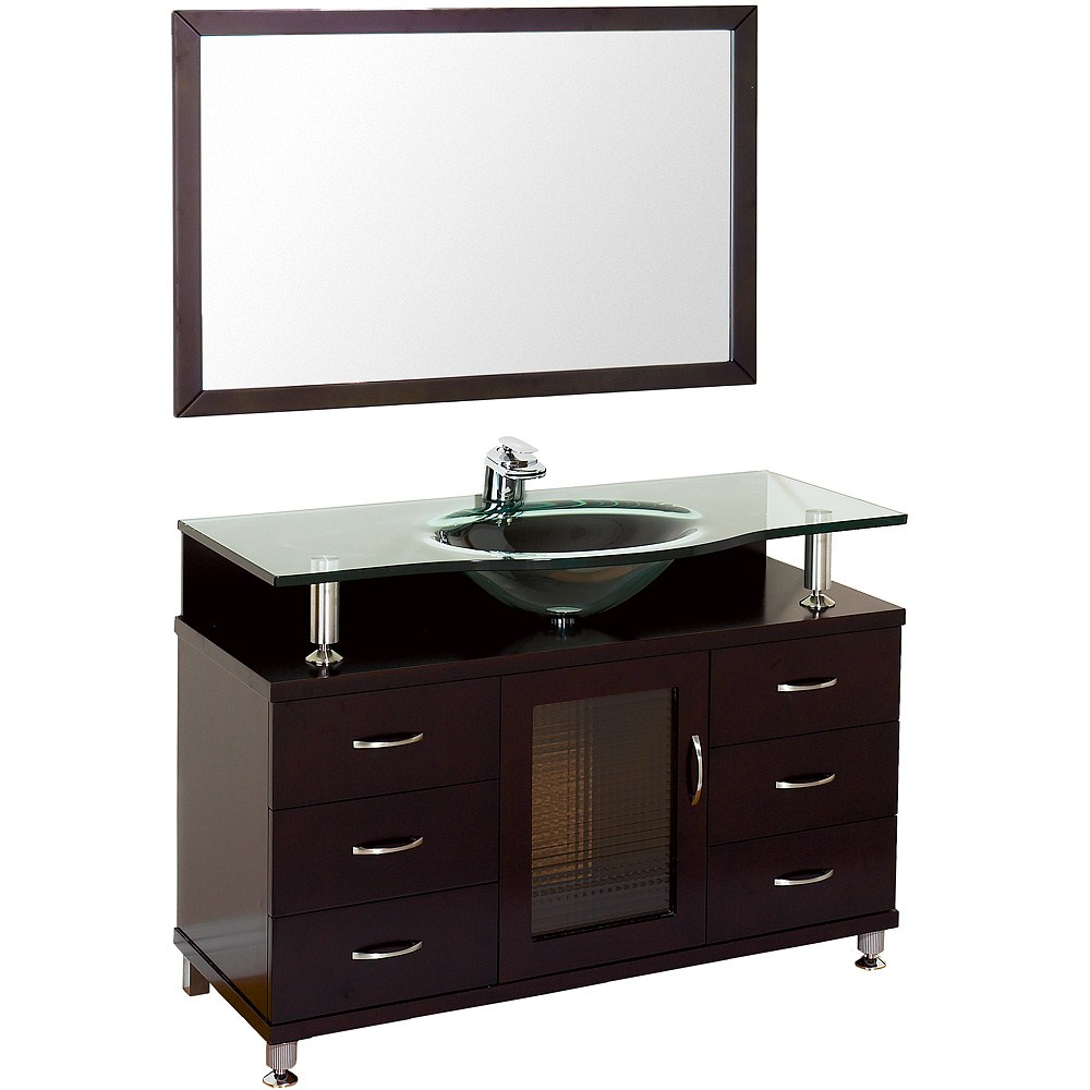 "Accara 48"" Bathroom Vanity with Drawers - Espresso w/ Clear or Frosted Glass Counter B706D-48-ESP"