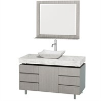 "Malibu 48"" Bathroom Vanity Set by Wyndham Collection - Gray Oak Finish with White Carrera Marble Counter WC-CG3000-48-GROAK-WHTCAR"