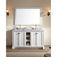 "Ariel Westwood 61"" Double Sink Vanity Set with Carrera White Marble Countertop - White C061D-WHT"