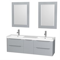 "Murano 60"" Wall-Mounted Double Bathroom Vanity Set with Integrated Sink by Wyndham Collection - Gray WC-7777-60-DBL-VAN-GRY"