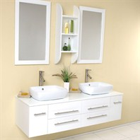 Fresca Bellezza White Modern Double Vessel Sink Bathroom Vanity with Mirrors FVN6119WH