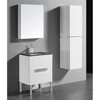 "Madeli Soho 24"" Bathroom Vanity for Quartzstone Top - Glossy White B400-24-001-GW-QUARTZ"