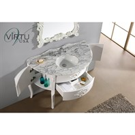 "Virtu USA 48"" Abigail Bathroom Vanity with Italian Carrara White Marble - White GS-6048-WM-WH"