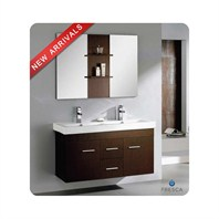 "Fresca Vilanie 48"" Wenge Brown Modern Double Sink Bathroom Vanity with Mirror FVN8113WG"
