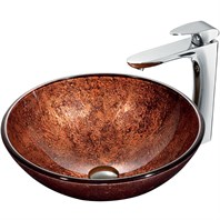 VIGO Mahogany Moon Glass Vessel Sink and Faucet Set in Chrome VGT190