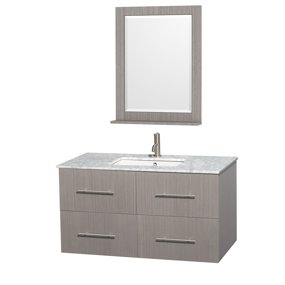 "Centra 42"" Single Bathroom Vanity for Undermount Sinks by Wyndham Collection - Gray Oaknohtin Sale $999.00 SKU: WC-WHE009-42-SGL-VAN-GRO- :"