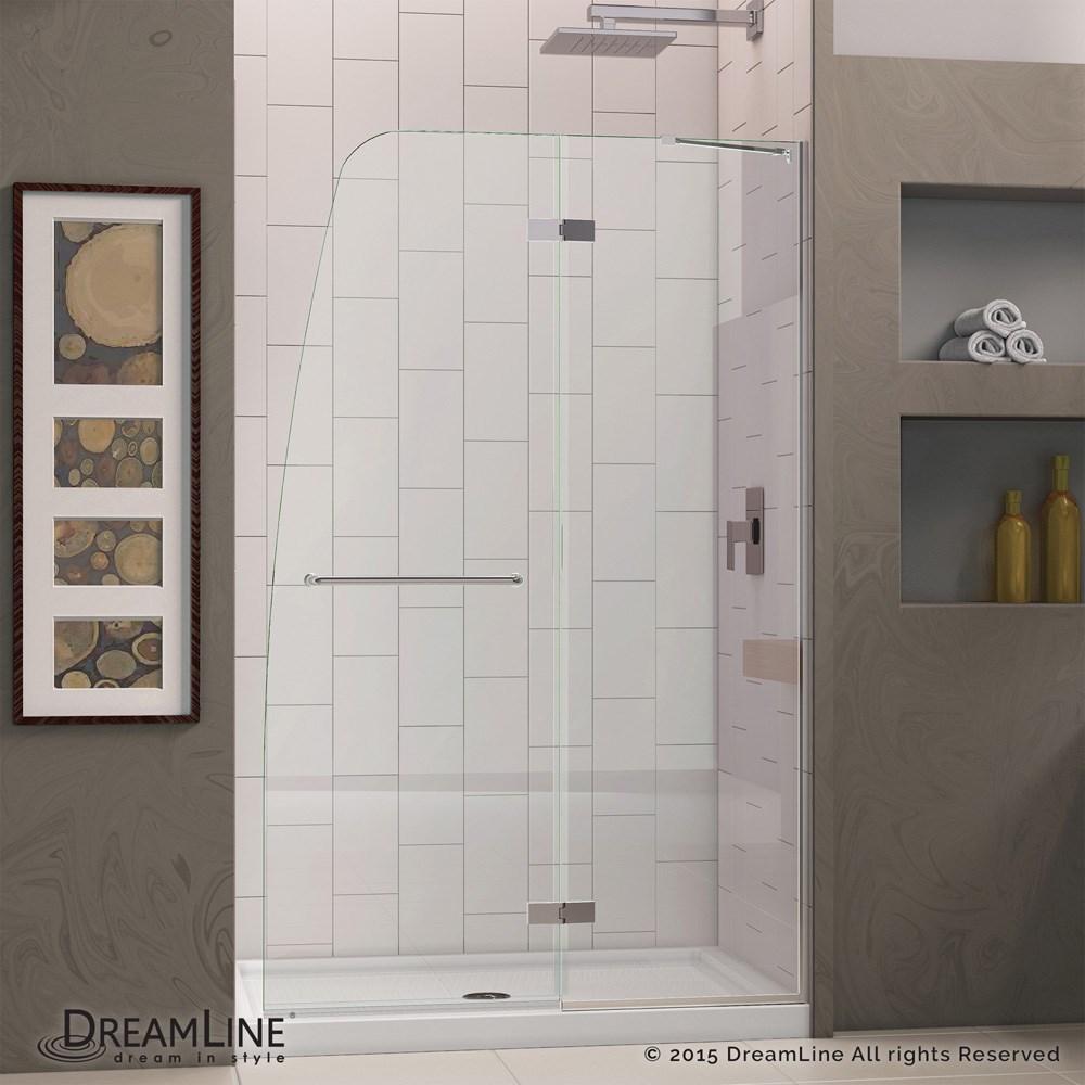 Bath Authority Dreamline Aqua Ultra Frameless Hinged Shower Door And Slimline Single Threshold Base 30 By 60
