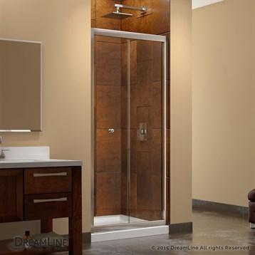 Bath Authority DreamLine Butterfly Frameless Bi-Fold Shower Door, Single Threshold Shower Base and QWALL-5 Shower... by Bath Authority DreamLine