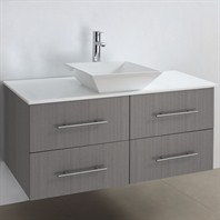 "Bianca 42"" Wall-Mounted Modern Bathroom Vanity - Grey Oak WHE007-42-GROAK"