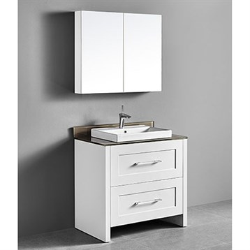 "Madeli Retro 36"" Bathroom Vanity for Glass Counter and Porcelain Basin, Matte White B700-36-001-MW-GLASS by Madeli"