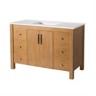 "Stufurhome Windsor 49"" Single Sink Bathroom Vanity with White Quartz Top - Natural Wood TY-7585-49-QZ"