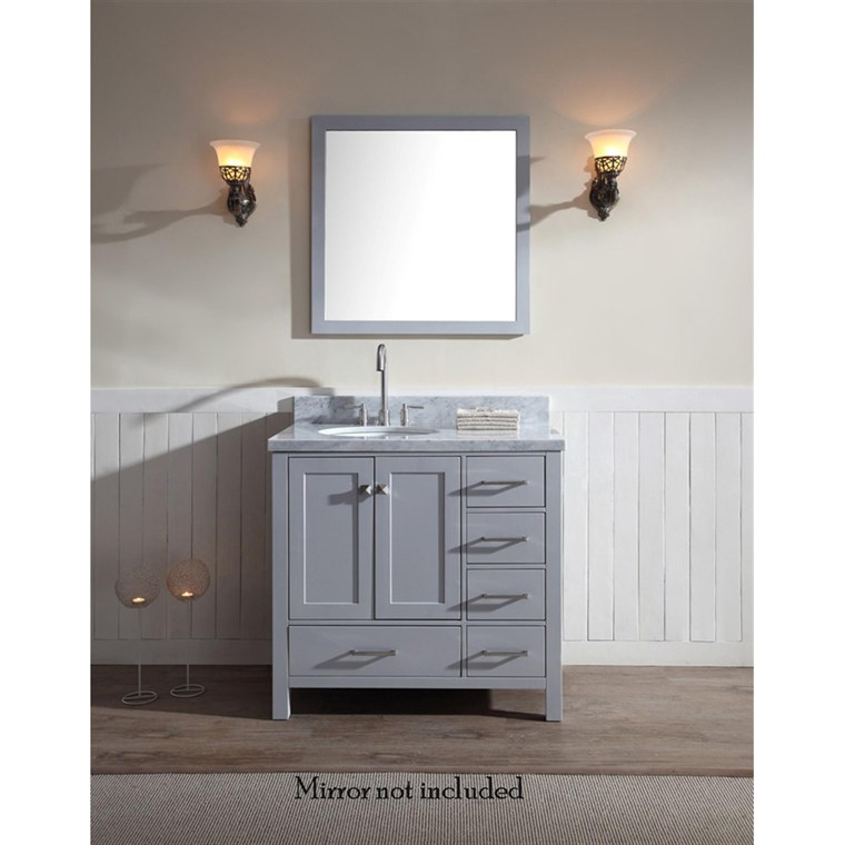 "Ariel Cambridge 37"" Single Sink Vanity with Left Offset Sink and Carrara White Marble Countertop - Grey A037S-L-VO-GRY"