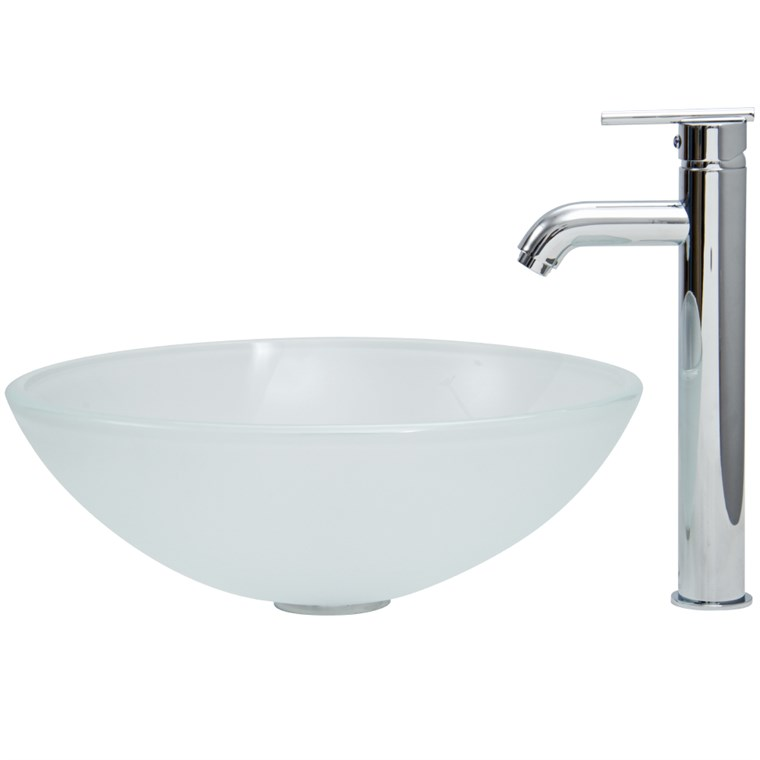 VIGO White Frost Vessel Sink and Tall Faucet Set VGT269-