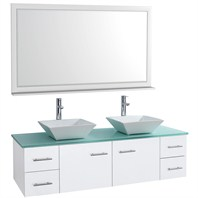"Bianca 60"" Wall-Mounted Double Bathroom Vanity - White WHE007-60-WHT-"