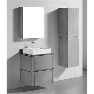 "Madeli Cube 24"" Wall-Mounted Bathroom Vanity for Glass Counter and Porcelain Basin, Ash Grey B500-24-002-AG-GLASS by Madeli"