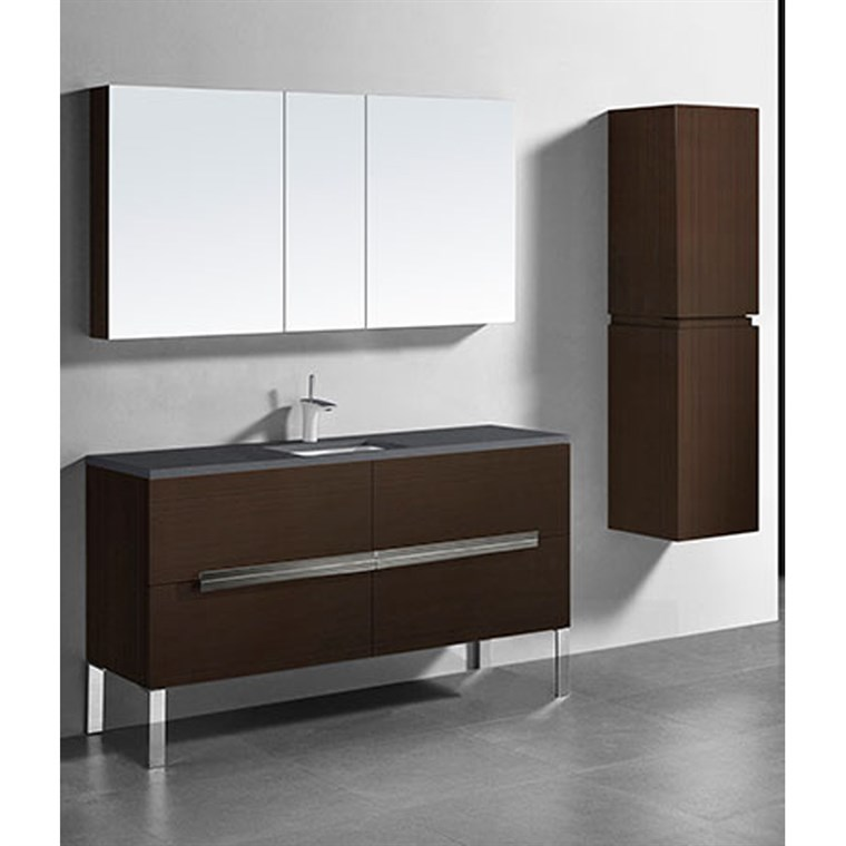 "Madeli Soho 60"" Single Bathroom Vanity for Quartzstone Top - Walnut B400-60C-001-WA-QUARTZ"