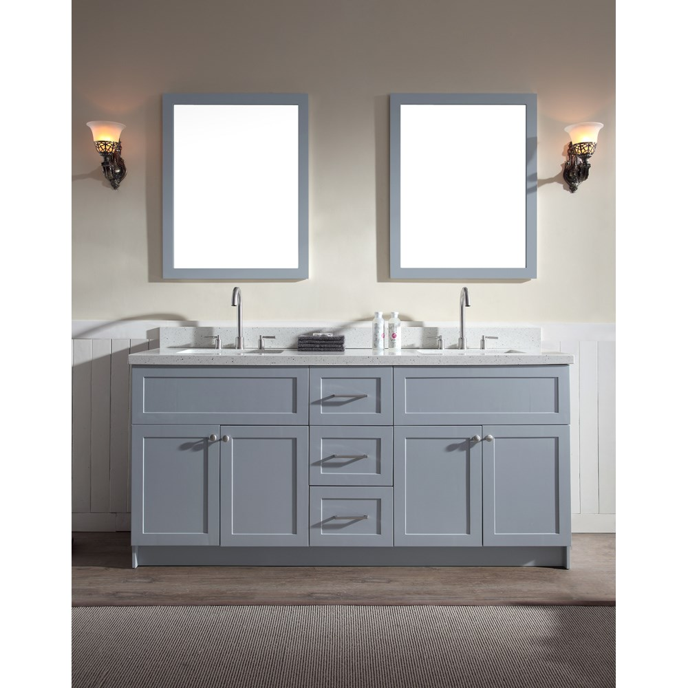 "Ariel Hamlet 73"" Double Sink Vanity Set with White Quartz Countertop in Greynohtin Sale $1899.00 SKU: F073D-WQ-GRY :"