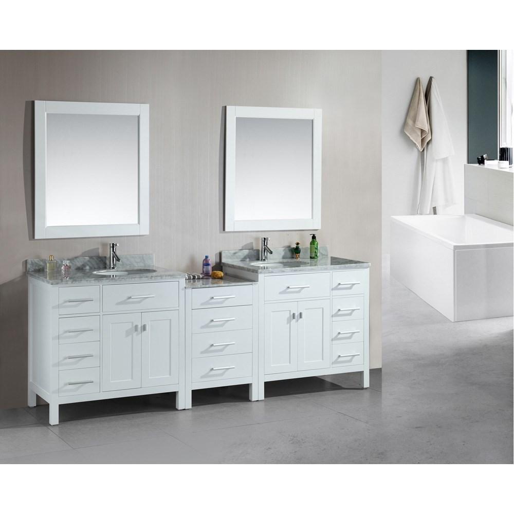 "Design Element London 92"" Double Sink Vanity Set - Whitenohtin Sale $2560.00 SKU: DEC076D-W-92 :"