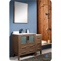 "Fresca Torino 42"" Walnut Brown Modern Bathroom Vanity with Side Cabinet, Integrated Sink, and Mirror FVN62-3012WB-UNS"
