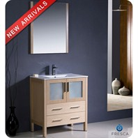 "Fresca Torino 30"" Light Oak Modern Bathroom Vanity with Integrated Sink FVN6230LO-UNS"