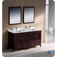 "Fresca Oxford 60"" Traditional Double Sink Bathroom Vanity - Mahogany FVN20-3030MH"