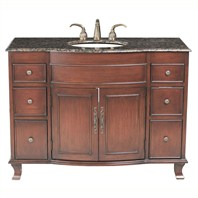 "Design Element Edwardian 48"" Single Sink Vanity Set w/ Baltic Brown Stone Top DEC403-BB"