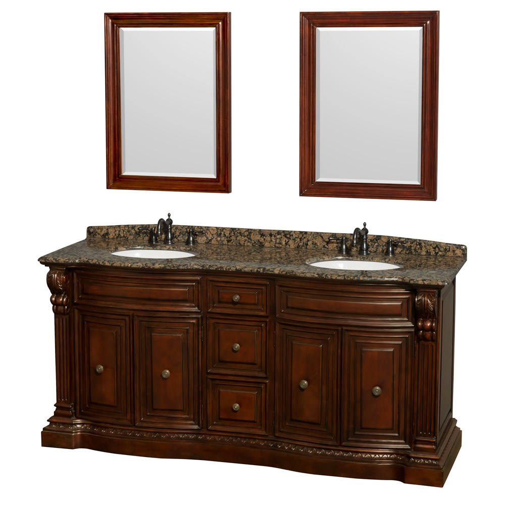 "Roxbury 72"" Traditional Double Bathroom Vanity by Wyndham Collection - Cherry 