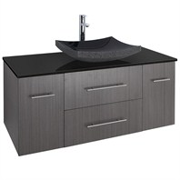 "Bianca 48"" Wall-Mounted Modern Bathroom Vanity - Gray Oak with Black Granite Counter WHE007-48-GROAK-BLK"