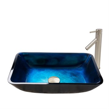 Vigo Rectangular Turquoise Water Glass Vessel Sink and Dior Faucet Set in Brushed Nickel Finish VGT794 by Vigo Industries