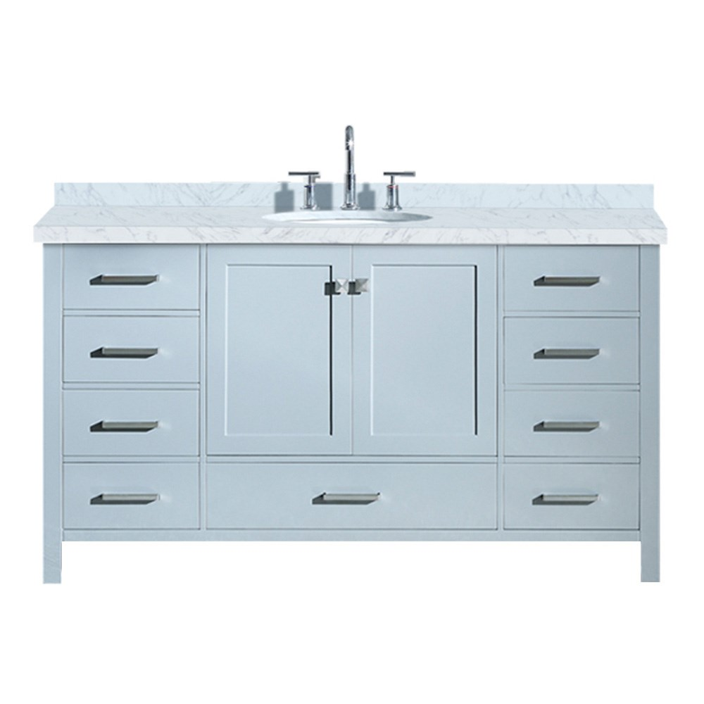 Ariel Cambridge 61 Single Sink Vanity With Carrara White Marble Countertop Grey Free Shipping Modern Bathroom