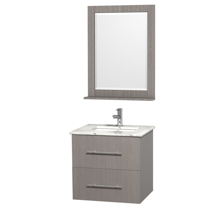 "Centra 24"" Single Bathroom Vanity for Undermount Sinks by Wyndham Collection - Gray Oak WC-WHE009-24-SGL-VAN-GRO-"