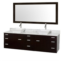 "Encore 78"" Double Bathroom Vanity Set - Espresso with White Carrera Marble Counter and Vessel Sinks CG4000-78-ESP-OM-CAR"
