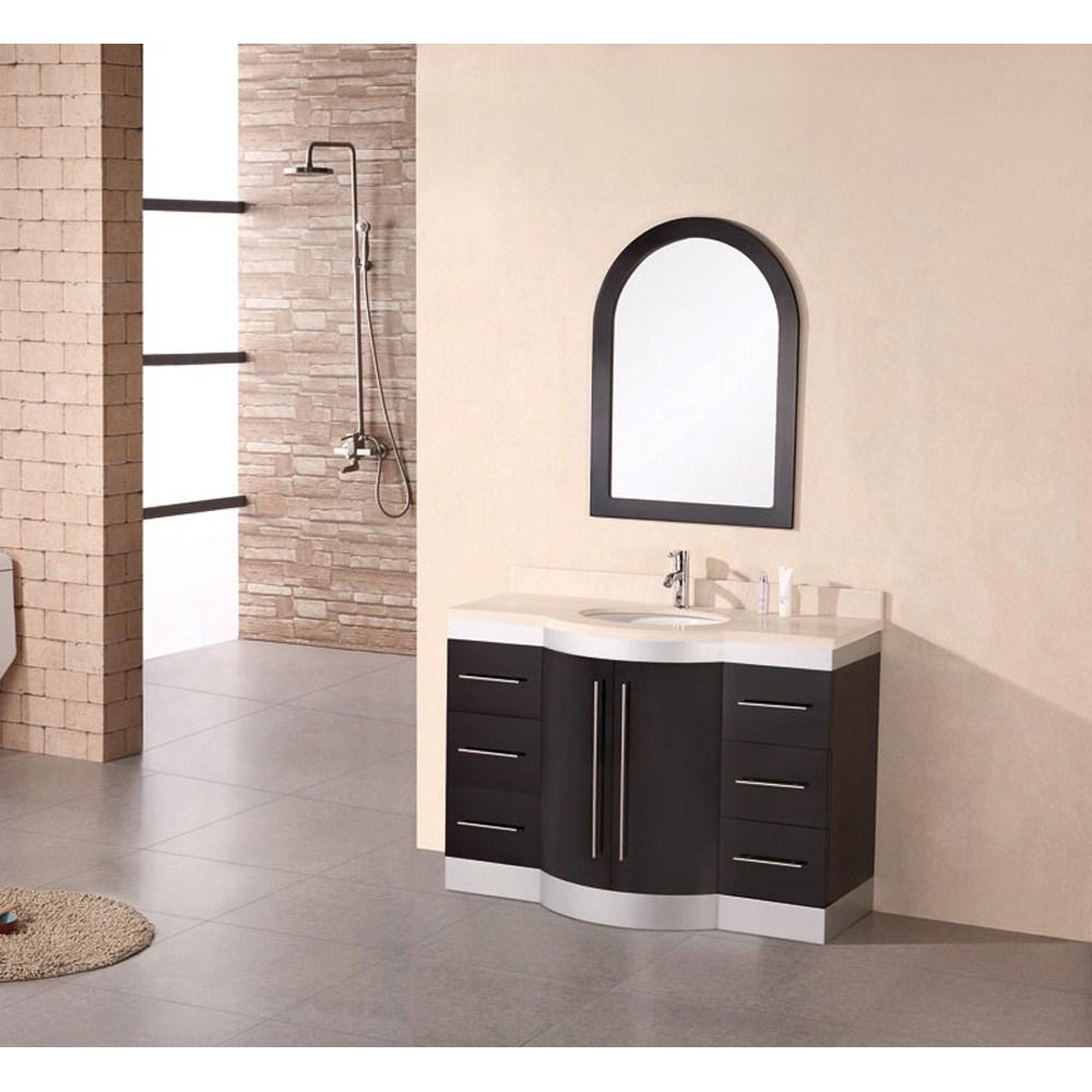 "Design Element Jade 48"" Single Sink Vanity Set w/ Travertine Stone Countertop - Espressonohtin Sale $1299.00 SKU: DEC024-TTP :"