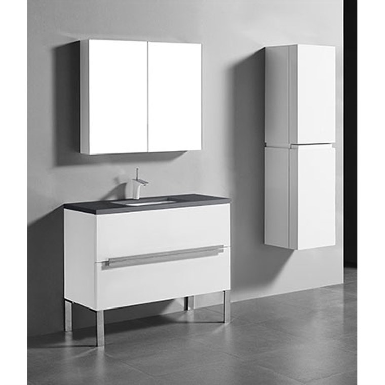 "Madeli Soho 42"" Bathroom Vanity for Quartzstone Top - Glossy White B400-42-001-GW-QUARTZ"