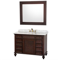 "English Cane 48"" Vanity Set - Wenge w/White Carrera Marble Counter BWV-48"