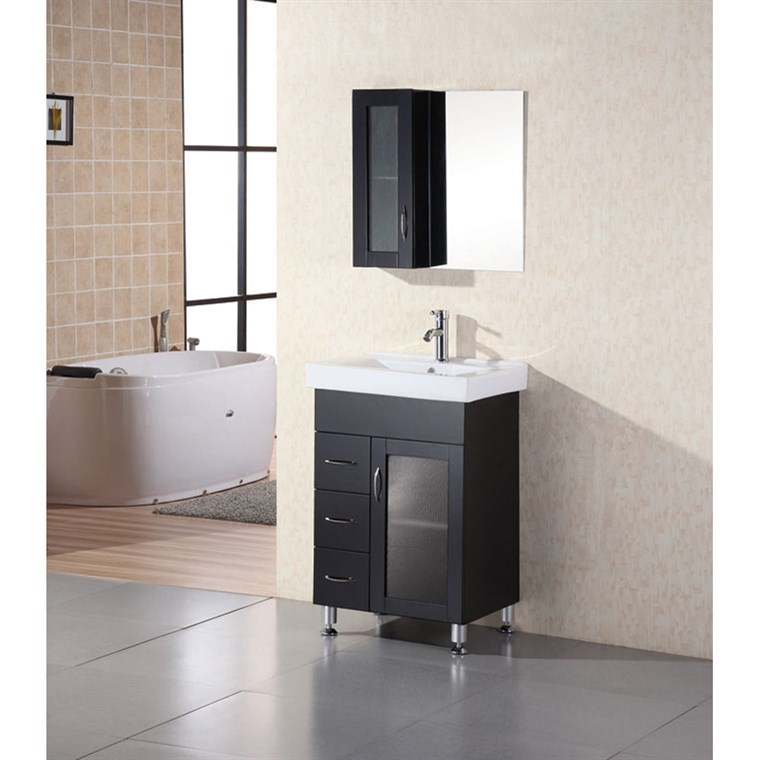 "Design Element Milan 24"" Bathroom Vanity - Espresso DEC022"