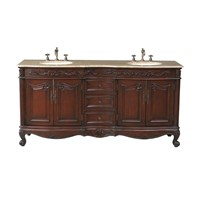 "Stufurhome 72"" Saturn Double Sink Vanity with Travertine Marble Top - Dark Cherry GM-3323-72-TR"