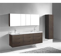 "Madeli Bolano 72"" Double Bathroom Vanity for X-Stone Top - Walnut B100-72-002-WA-XSTONE"