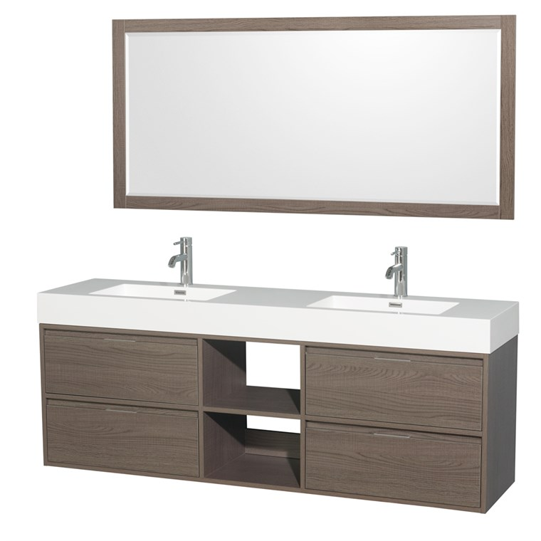 "Daniella 72"" Wall-Mounted Double Bathroom Vanity Set With Integrated Sinks by Wyndham Collection - Gray Oak WC-R4600-72-VAN-GRO"